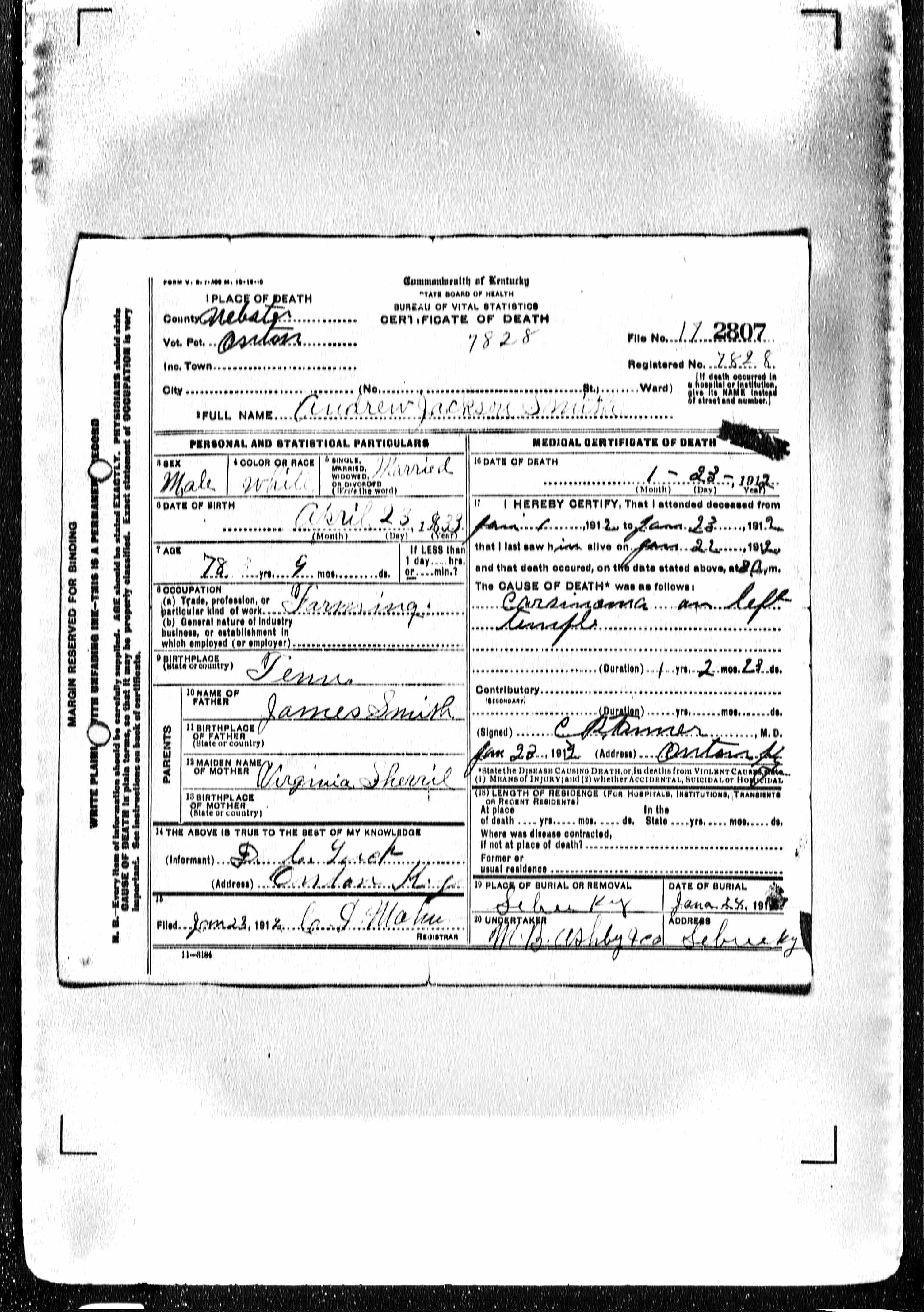Documents Andrew Jackson Smith B 1833 Tn Birth Certificate Smith