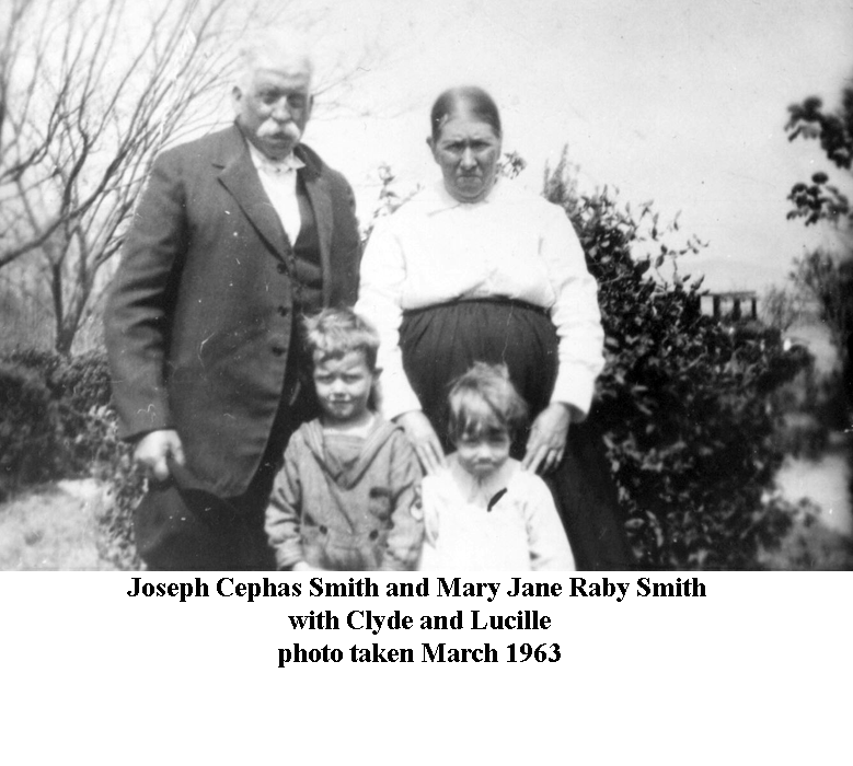 Joseph Cephas Smith and Mary Jane Raby Smith with Clyde and Lucille