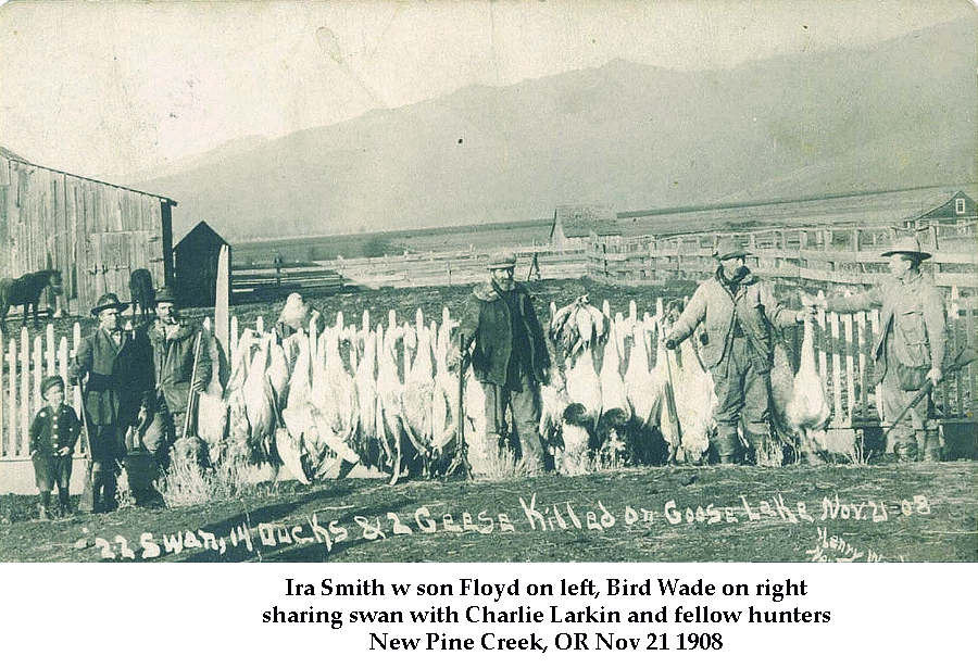Ira Smith with son Floyd on left, Bird Wade on right, sharing swan with Charlie Larkin and fellow hunters New Pine Creek, OR Nov 21 1908