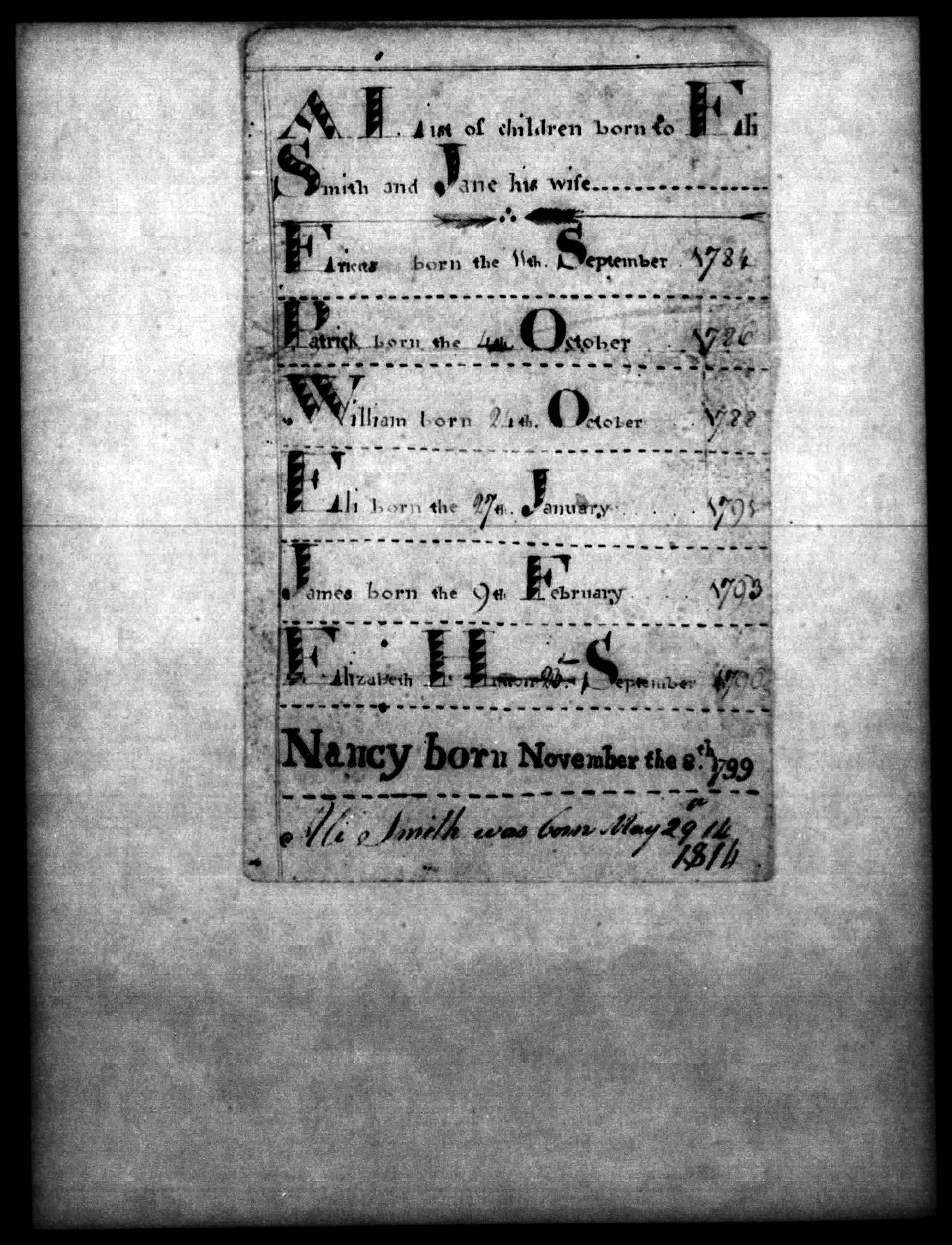 Bible page of the Eli (Ali) Smith family