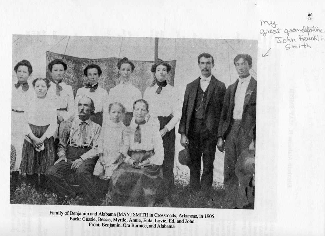 Family of Benjamin and Alabama May Smith in Crossroads AR 1905
